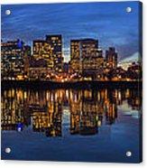 Portland Downtown Skyline At Blue Hour Panorama Acrylic Print