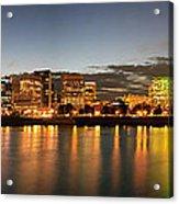 Portland Downtown Skyline Night Panorama Acrylic Print