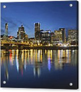 Portland Downtown With Hawthorne Bridge At Blue Hour Acrylic Print