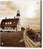 Portland Head Lighthouse In Sepia Acrylic Print