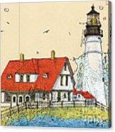 Portland Head Lighthouse Me Nautical Chart Map Art Acrylic Print