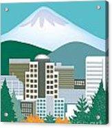 Portland Oregon Vertical Skyline Acrylic Print