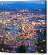 Portland Marquam Freeway With Bokeh Lights Acrylic Print