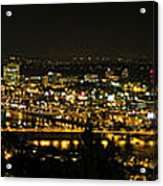 Portland Night Skyline Along Willamette River Panorama Acrylic Print