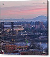 Portland Oregon And Mt St Helens During Sunrise Acrylic Print