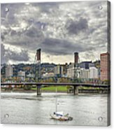 Portland Oregon Downtown Along Willamette River Acrylic Print
