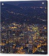 Portland Oregon Downtown Cityscape At Blue Hour Acrylic Print