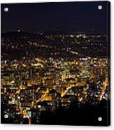 Portland Oregon Downtown Cityscape At Night Acrylic Print