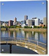 Portland Oregon Downtown Skyline Reflection 4 Acrylic Print