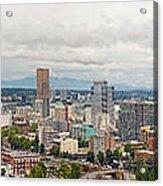 Portland Oregon Downtown View Panorama Acrylic Print