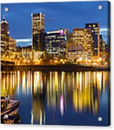 Portland Oregon Downtown Waterfront At Blue Hour Acrylic Print