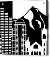 Portland Oregon Skyline Black And White Illustration Acrylic Print