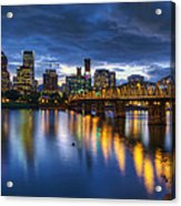 Portland Oregon Waterfront At Blue Hour Acrylic Print
