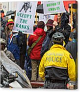 Portland Police Controlling Occupy Portland Crowd Of Protesters Acrylic Print