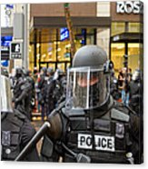 Portland Police In Riot Gear Closeup Acrylic Print