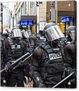 Portland Police In Riot Gear Acrylic Print