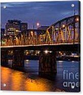 Portland Skyline And Hawthorne Bridge Acrylic Print