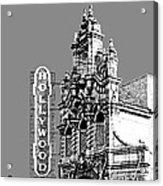 Portland Skyline Hollywood Theater - Pewter Acrylic Print