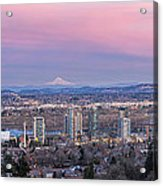 Portland South Waterfront At Sunset Panorama Acrylic Print