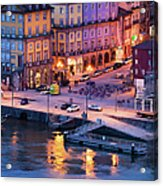 Porto Old Town In Portugal At Dusk Acrylic Print