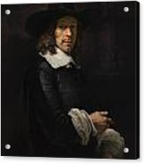 Portrait Of A Gentleman With A Tall Hat And Gloves Acrylic Print