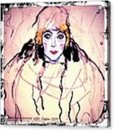 Portrait Of A Lady En Face After Gustav Klimt Acrylic Print