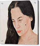 Portrait Of A Long Haired Filipina Beautfy With A Mole On Her Cheek Acrylic Print by Jim Fitzpatrick