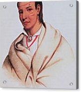 Portrait Of A-mis-quam, A Winnebago Brave Coloured Engraving Acrylic Print