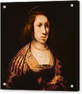 Portrait Of A Young Woman With A Carnation, C.1642 Oil On Canvas Acrylic Print