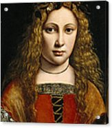 Portrait Of A Youth Crowned With Flowers Acrylic Print by Giovanni Antonio Boltraffio