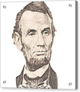 Portrait Of Abraham Lincoln On White Background Acrylic Print