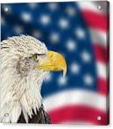 Portrait Of American Bald Eagle Against Usa Flag Stars And Strip Acrylic Print