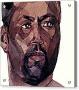 Watercolor Portrait Of An Athlete Acrylic Print