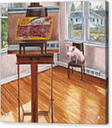 Portrait Of Bacon Acrylic Print by Thomas Weeks