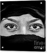 Portrait Of Beautiful Arab Woman Wearing Black Scarf In Black An Acrylic Print