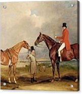 Portrait Of John Drummond On A Hunter With A Groom Holding His Second Horse Acrylic Print