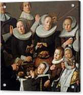 Portrait Of The Painter Andries Van Bochoven And His Family Acrylic Print