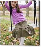 Portrait Of Young Girl On Swing Acrylic Print by Vast Photography