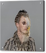Portrait Of Young Man With Owl Overlay Acrylic Print
