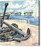 Portside Anchor Acrylic Print by Paul Brent