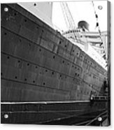Portside Bw Queen Mary Ocean Liner Long Beach Ca Acrylic Print