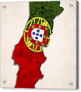 Portugal Map Art With Flag Design Acrylic Print