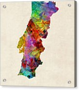 Portugal Watercolor Map Acrylic Print by Michael Tompsett