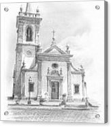 Portugese Church Pencil Portrait Acrylic Print