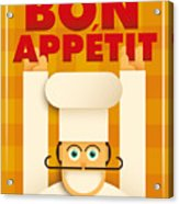Poster With A Comic Chef. Vector Acrylic Print