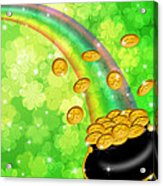 Pot Of Gold Shamrock Blurred Background Acrylic Print