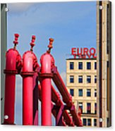Potsdamer Platz Pink Pipes In Berlin Acrylic Print