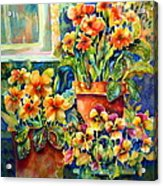 Potted Pansies II Acrylic Print by Ann  Nicholson