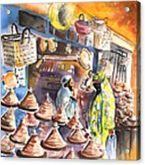 Pottery Seller In Essaouira Acrylic Print