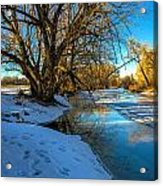 Poudre River Ice Acrylic Print by Baywest Imaging